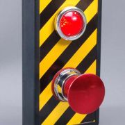 Heavy-Duty Switch Device with Large Flashing Indicator. (Self contained power via 9 volt battery.)