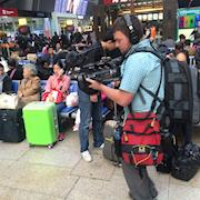 On the go shooting for PBS world in China