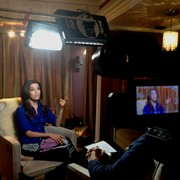 2 camera Interview with actress Eva Longoria on set of Desperate Housewives