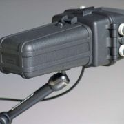 Functional weatherproof color LCD monitor mounted on an adjustable arm. (Image was fed off-camera via coaxial cable.)