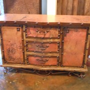 Copper and pine cabinet from Mexico