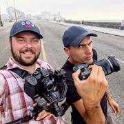 On the closed Malecon in Havana shooting for documentary