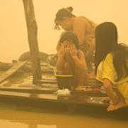 Haze cause by forest fires in Central Kalimantan.