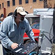 Operating the Techno Crane for the 3D movie on Carroll Shelby