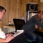 Director Wynn Ponder works through the session plan with Paramount engineer Dan Hoal, just before Lita Ford's arrival.
