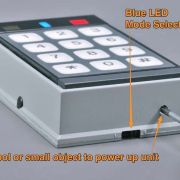 Detail showing power switch and blue LED mode select switch.