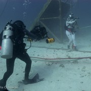 Jonathan Bird filming NASA astronaut Jeanette Epps at Aquarius Reef Base, Key Largo, Florida, as part of a giant screen (fulldome) film about astronaut training.