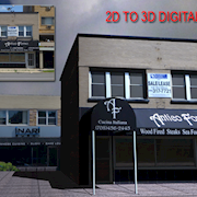 An exercise where a precisely aligned photo is used as a starting point for creating a 3D building.