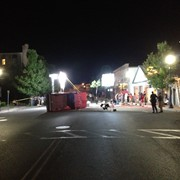 "BTS on the film ""How'd They Meet"". Outdoor overnight set on a closed main street for a vehicle scene."
