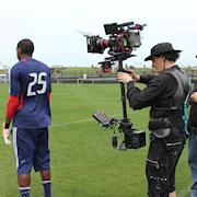 Commercial shoot at Toyota Park with Red Epic on Steadicam.
