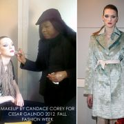 Behind the scence for New York Fashion week Cesar Galindo fashion show. Makeup by Candace Corey.