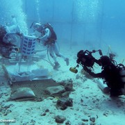 Jonathan filming astronauts training underwater at Aquarius Reef Base, Key Largo, Florida, as part of a giant screen (fulldome) film about astronaut training.