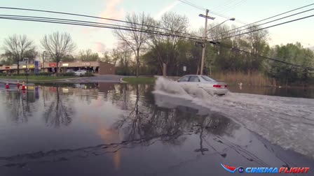 Cinemaflight.com RC Aerial Video Flying over Flooded Streets & Cars