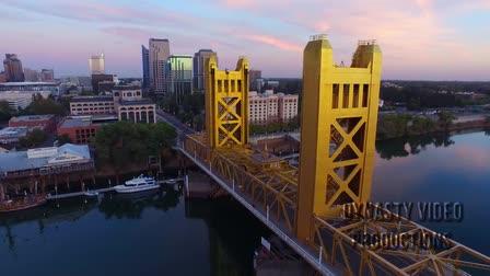 Aerials of Tower Bridge, Sacramento, Ca