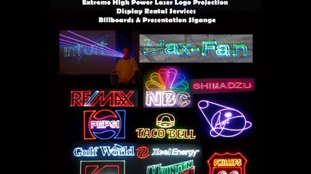 Custom High Power Laser Light Show Rental Laser Logo Event Display Stage Billboard Production Services Worldwide