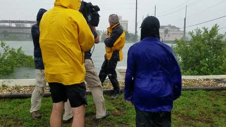 Hurricane Matthews CBS crew and Calhoun satellite