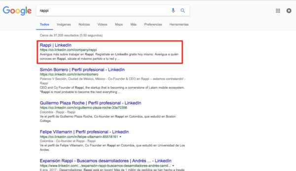 Búsqueda en Google de Rappi