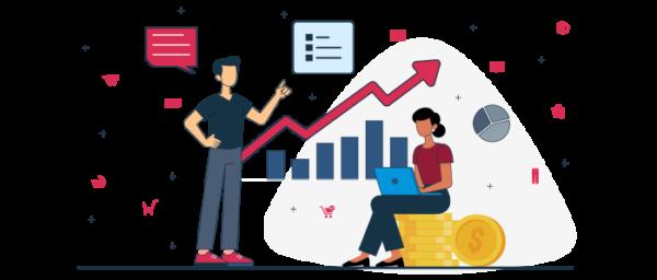 Ilustración de apoyo financiero con inversión
