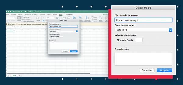 Menú desplegable para crear macros en Excel