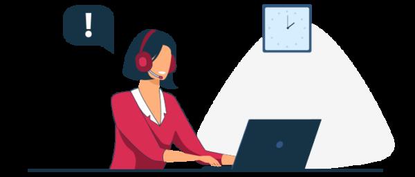 Ilustración atención al cliente por chat y llamada