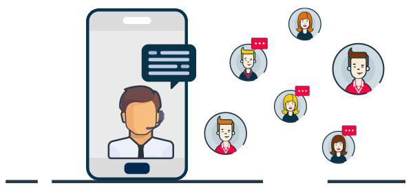 Ilustración asesor al cliente e-commerce