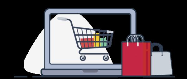 Ilustración carrito de compras online