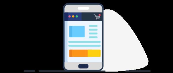 Ilustración ecommerce móvil con carrito de compras