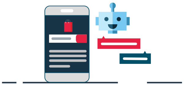 Ilustración bot conversacional por mensajes de texto
