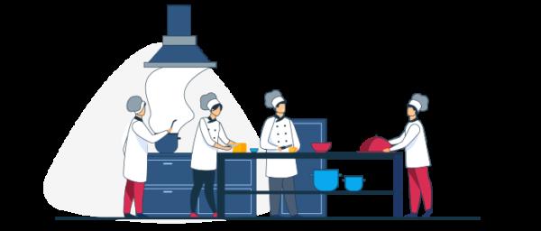 Ilustración chefs preparando comida para vender