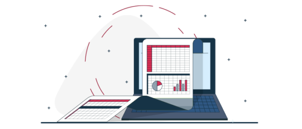 Ilustración informe de inventario tienda virtual