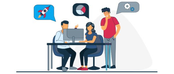 Ilustración equipo empresarial aportando ideas