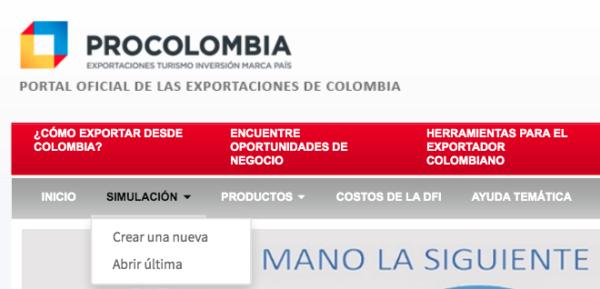 Cómo crear una simulación de exportaciones Procolombia