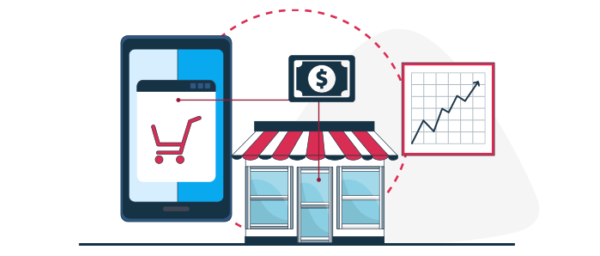 Ilustración digitalización de pequeños negocios