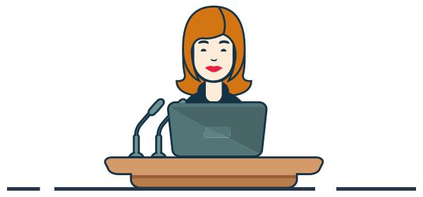 Ilustración Emprendedora presentando en foro de la mujer