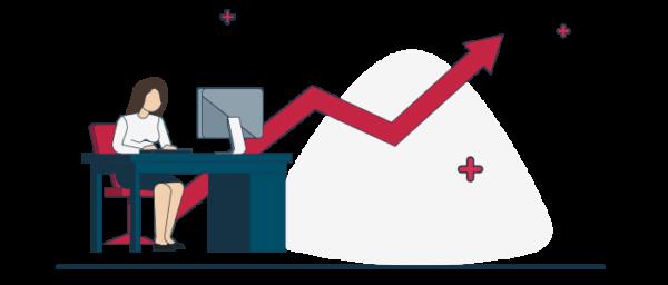 Vector de incremento de emprendimientos online