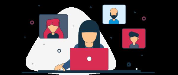 Ilustración entorno laboral en reuniones virtuales
