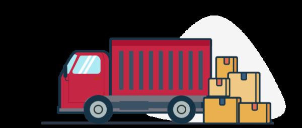Ilustración camión de entrega pedidos virtuales