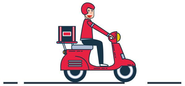 Ilustración motociclista entregando pedidos de tienda virtual