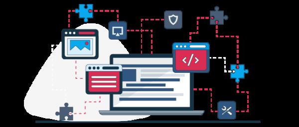 Ilustración partes para crear una página web de empresas
