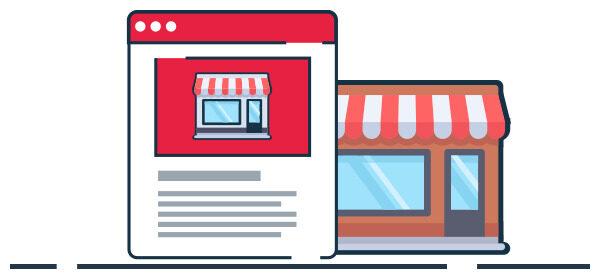Ilustración tienda virtual de negocio físico