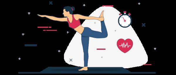 Ilustración ejercicios y pausas activas en teletrabajo