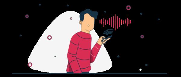 Ilustración persona solicitando domicilio por comando de voz