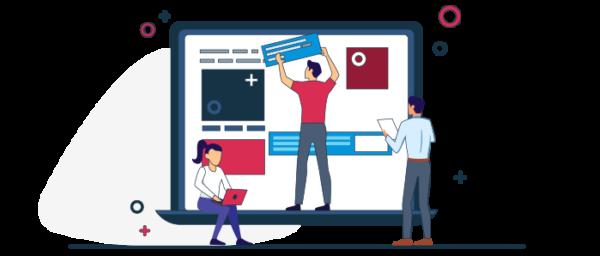 Ilustración construcción gráfica de un sitio web ecommerce