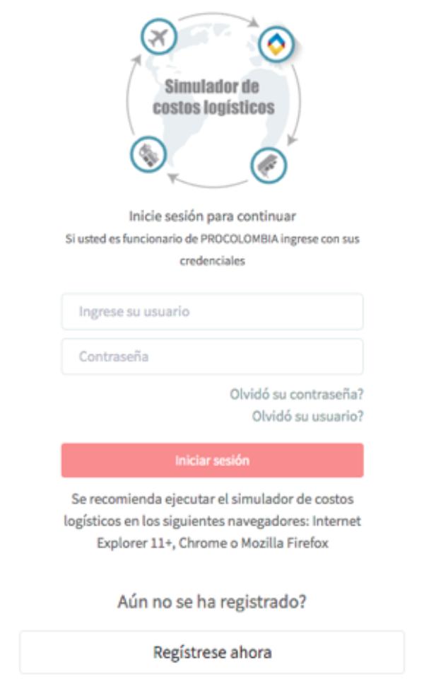 Registro al simulador de exportaciones Procolombia