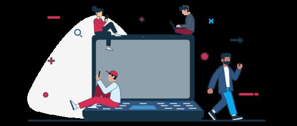 Ilustración de personas realizando compras por internet