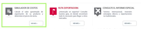 Selección del simulador de exportaciones Procolombia