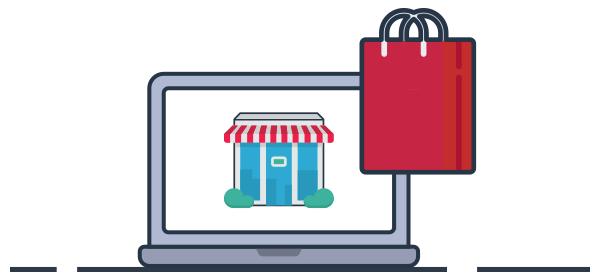 Ilustración negocio local con tienda virtual