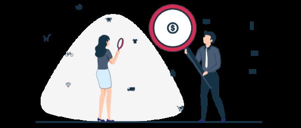 Ilustración de tipos de ventajas competitivas para ecommerce