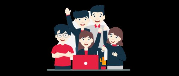 Personas trabajando en equipo en una empresa