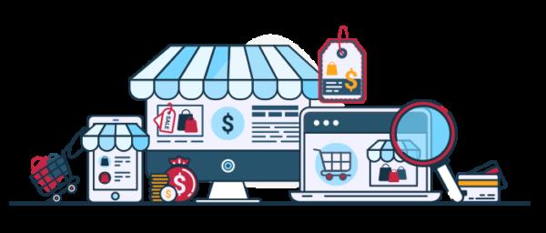 Ilustración venta de productos por Facebook Shops